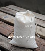 W15xH26cm drawstring cotton muslin bags natural wholesale free shipping