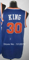 New York #30 Bernard King Men's Authentic Hardwood Classics Throwback Road Blue Basketball Jersey