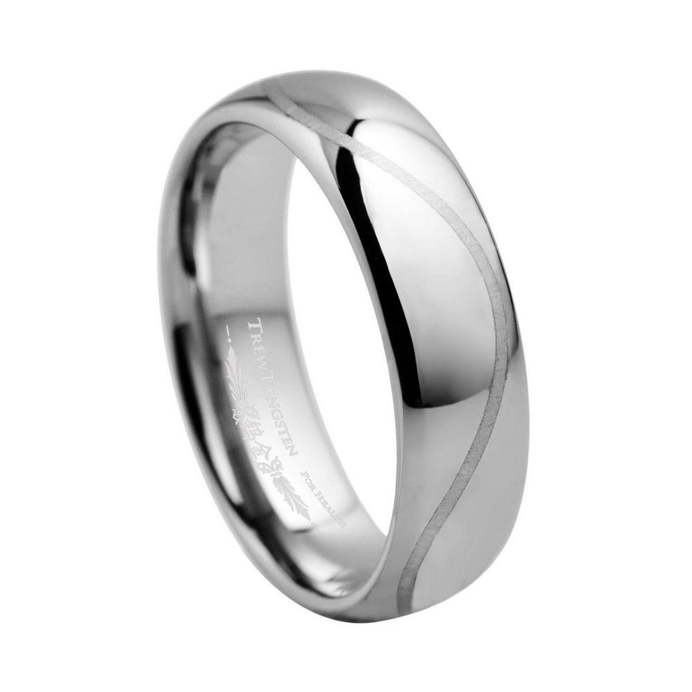 En forme de dôme en carbure de tungstène bague de mariage avec ...