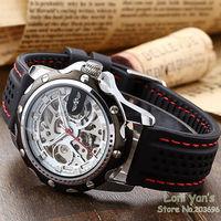 New 2014 WINNER New Casual Watch Men Skeleton Auto Mechanical Watches Wristwatch Gift