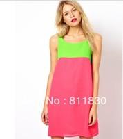 Dresses New Fashion Arrival 2014 Summer Mini Dress ladies sleeveless A line dress Classic Skirt European Chiffon Dresses
