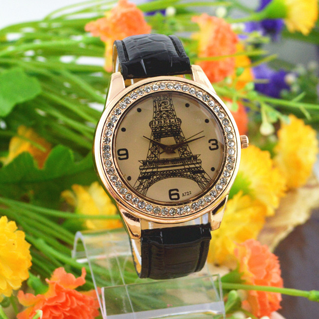 Free shipping Fashion Generous Quartz Watch Vintage Watches Casual Lady Wristwatches Eiffel Tower Wrist Latest Styles Black(China (Mainland))