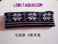 Beauty lady black white flower warm wool turban headband elastic headbands hair bands hair accessories for women bandana scarf