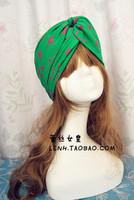 Supernova sale fashion Green Pink pentagram wide cotton turban headband head bands for women elastic hair bands turban headbands