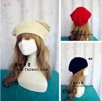 New Fashion Handmade Warm Winter Women's Beret kintted cat ears hat 3Color Beige Red Black animal crochet hats beanie for women