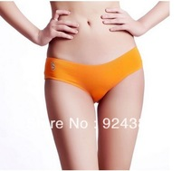 VC design women's low waist underwear high stretch slim body  multicolor briefs with character letter print  orange pink  M L
