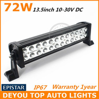 Free Shipping 72W LED Work Light  Bar 12V 24V IP67 Flood Or Spot beam For 4WD 4x4 Off road Light Bars TRUCK BOAT TRAIN BUS