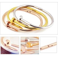 Fashion jewelry Men Women Stainless Steel Nail Bangle Bracelet Silver Rose Gold Titanium Love Bracelet Bangles 00003