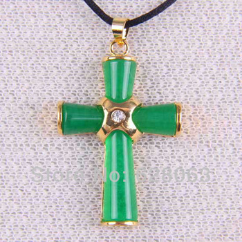 26x38MM Green Jade Bead Cross Pendant Jewelry Free shipping S027