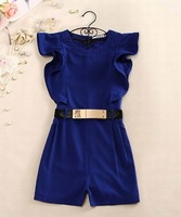 Free shipping new summer cultivate one's moral character ruffles sleeve Jumpsuits short pants