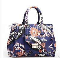 2014 free shipping fashion  women's handbag ladies vintage oil flower painting shoulder bag simport PVC british style tote bags
