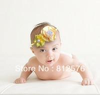 2013 New Baby Headband Satin Round Roll Flower with Satin Ribbon Flower with rhinestone 20pcs/lot Girls Headband