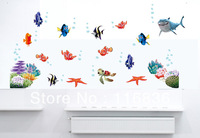 High Quality 2013 New Finding Nemo DIY  Cartoon Fishes Bath Room Wall Sticker Removable  Kids Room 45x60cm