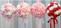 "Free Shipping 7.9 "" High Quality Artificial Silk Rose Flower Wedding Kissing Ball Wedding Bouquet"