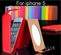 Fashion Luxury  Flip Leather Case  for iPhone 5 5S with mirror High Quality PU leather case cover For iPhone 5G Free Shipping
