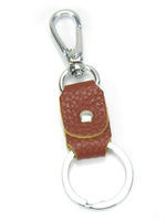 FREE SHIPPING 4PCS Brown Leather Keyring Key Chains W/clasp #22937