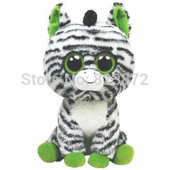 Free Shipping TY Beanie Boos Zig-Zag the Zebra Plush Toys 15cm Ty Big Eyes Plush Animals Horse Kids Toys for Children