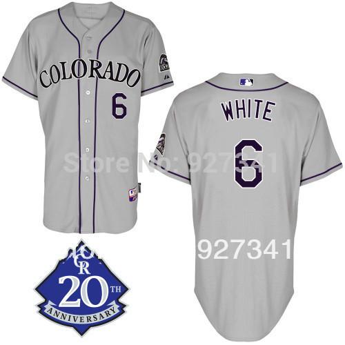 Alex White 6 Colorado Rockies Cool Base purple grey white baseball Jersey w/Rockies 20th Anniversary Patch(China (Mainland))
