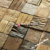 Natural wood mosaic tile rustic wood wall tiles NWMT002 kitchen backsplash wood panel 3D wood pattern tiles mosaic