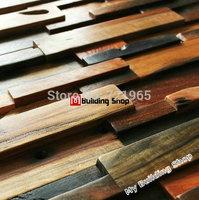 3D natural wood mosaic tile rustic wood kitchen wall tiles backsplash NWMT006 wood panel tiles wood pattern mosaics