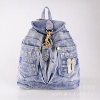 Women Denim Bag Girl's Handbag Back Pack With Rhinestones Sports Travel Casual School Student Book Bag Jeans Bag Mochilas Female