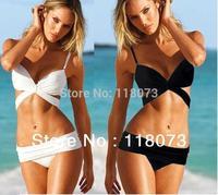 2014 sexy bandage swimsuit bikini two piece retro black and white swimwear beach wear trajes de bano biquini free shipping