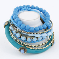 Hot sale charm acrylic beads bracelet for women 2013 new fashion multi layer bracelet bangle wholesale jewelry mix color