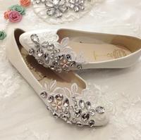 beautiful handmade lace flower rhinestone bridal bridesmaid shoes flat heel white wedding shoes