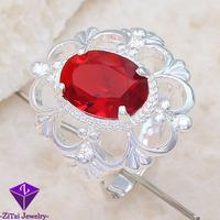Xmas HR0501 ZITAI FLOWER GARNET RED TOPAZ 26CT Wholesale retail FREE SHIPPING FASHION 925 silver men jewerly ring sz.7 8