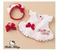 HB133 Promotion Fashion girl Hello Kitty baby suit (3PC),princess top+cap+wristband/kid set Wholesale Retail Honey Baby