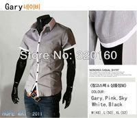 Free Shipping Men's Shirts Slim Luxury short-sleeve Stylish Casual T-Shirts Grey/Light blue/Pink/Black/white