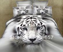 500tc grauweiß tiger tier gedruckten betten 3d Öl tröster bett leinentücher baumwolle voll Königin quilt bettbezüge(China (Mainland))