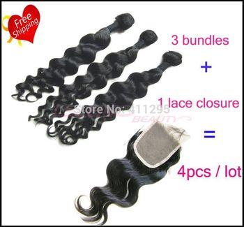 Cheap virgin unprocessed Filipino loose wave 4pcs lot mixed free part closure and 3 hair bundles can be dyed Free shipping