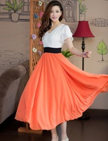 Free shipping New summer Patchwork show thin short sleeve dress the big pendulum chiffon dress