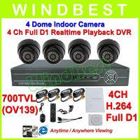 OV139 700 TVL 4CH H.264 Full D1 DVR Kit Day Night Vision Indoor Dome Camera Surveillance Video System 4CH CCTV Camera DIY Kit