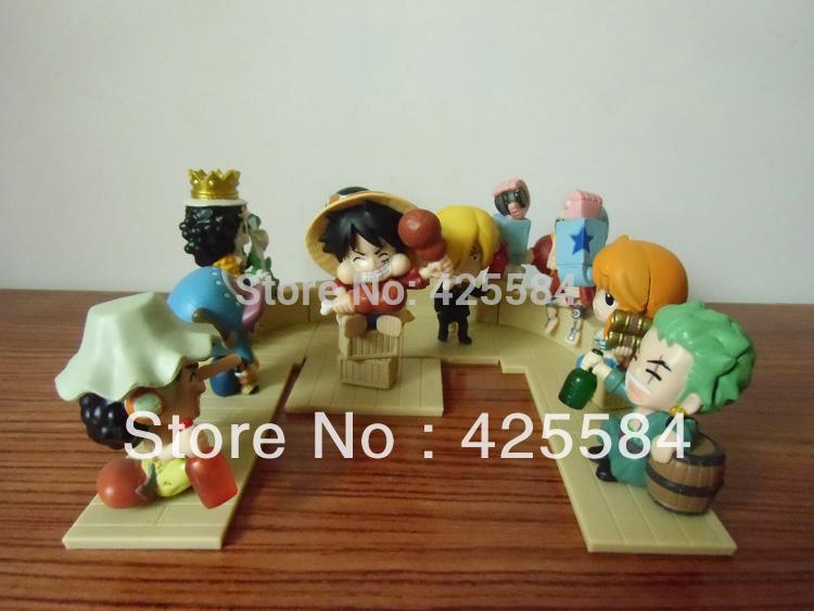 Q Style ONE PIECE Toy Figures Straw Hat Legion PVC Toy Models 5-10cm 9PCS/Set Luffy Figure Free Shipping(China (Mainland))