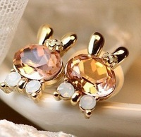 Free S hipping Jewelry Wholesales Big Crystal Rabbit Bowknot Stud Earring .(Mini Order Is $10+Gift,Mix Order)White/pink