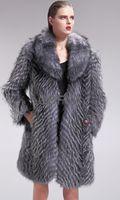 Women Genuine Piece Silver Fur Coat Jackets Female Winter Warm Outerwear Coats Ladies Overcoat QD27571A