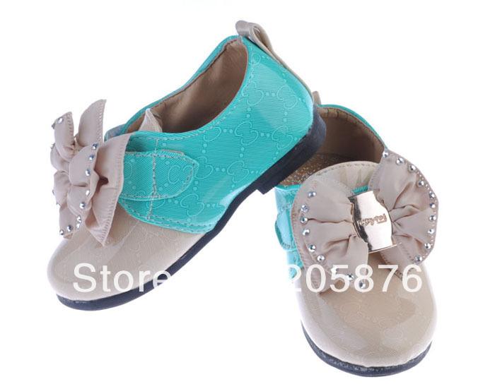 Big Bowknot Baby Girls Leather Shoes Children Girl PU Princess Shoes Low Heeled Girl Footwear Size21-25 1pair TXN-008(China (Mainland))