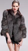 2013 Fashion Women Genuine Whole-Piece Silver Fox Fur Coat Female Winter Warm Overcoat Three Quarter Sleeve Garment QD27578A