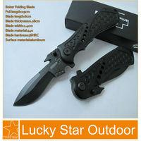 Boker Pocket Camping Knife Outdoor Tactical Survival Folding Blade 56HRC 440C +Plating titanium+ aluminum handle