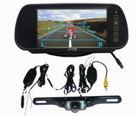 "7"" LCD Monitor Car Rear View Mirror Kit + Wireless 2.4GHZ Reverse reversing Camera parking sensor"