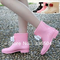 Bow jelly fashion short women's water shoes rain boots rainboots women's rain shoes