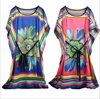 2014 New Retail Spring And Summer Fashion Large Size Dresses  Big Flower Women's Ice Silk T-shirts Chiffon Sweatshirts