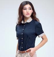 2014 Chiffon Regular Length Short Sleeve Button Summer Business Attire Women Blouse 2014 New Blusas Femininas Sale Cheap Shirts