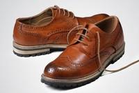 Genuine leather Oxford Floral paisley brown blue brogues leather platform Oxford  men dress autumn shoes 2014