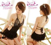 sexy lingerie Hot Black babydoll lace skirt nighty dress Flowers costume sexy sleepwear, intimates 8149