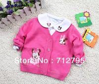 Baby girls' spring and autumn cardigan cartoon sweater top