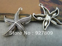 Free Delivery Diy Accessories Vintage handmade Materials Antique Silver Starfish Pendant  26mm 30pcs/lot  Suitable For Handmade