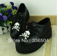 Free shipping 2013 HARAJUKU shoes platform shoes casual shoes single skull round toe shoes